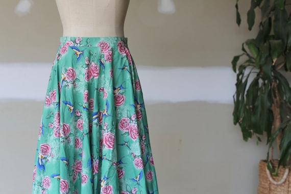 Retro Floral Skirt l Vintage Bird Skirt l Swing T… - image 2