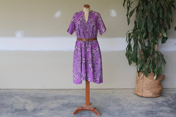 Rare Vintage 1970s Indian Block Print Dress l Flor