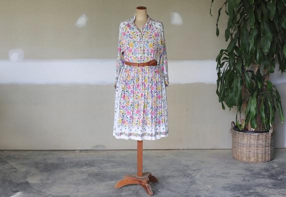 Vintage Italian Floral Dress l Floral Tea Dress l