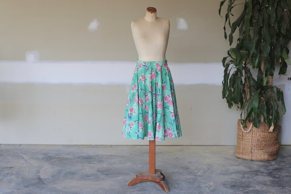 Retro Floral Skirt l Vintage Bird Skirt l Swing T… - image 1
