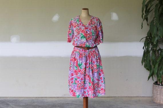 Vintage Adini Floral Dress l Indian Gauze Cotton S