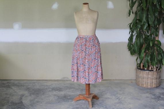 Vintage Paisley Skirt l Retro Hippie Boho Cotton S