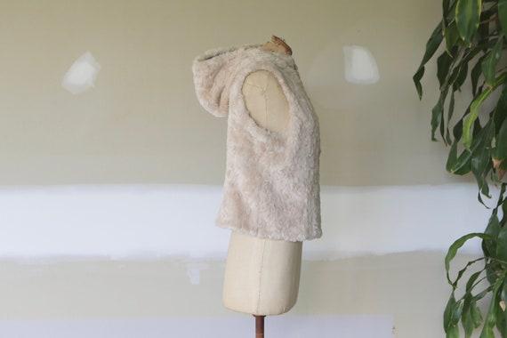 Vintage Faux Fur Vest l Hooded Vest l Faux Fur Jac