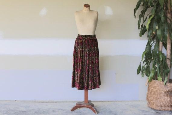 Vintage Floral Velvet Skirt l Velvet Maxi Skirt l