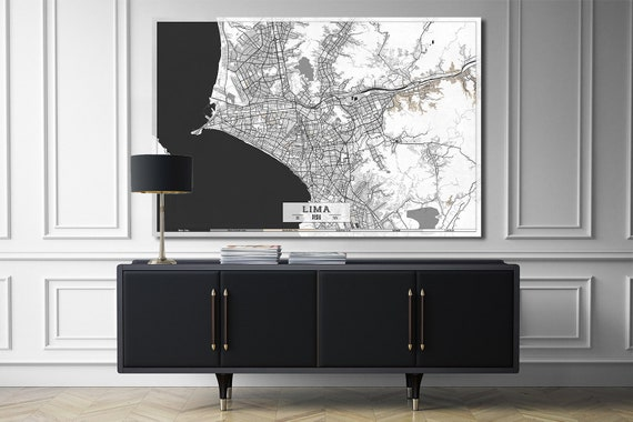 Ready to Hang Florida Map KEY WEST FL Canvas Print Huge Wall Art  Black and White Gray Modern 3 panel Extra Large Poster Restaurant Decor