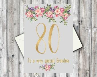 Personalised 80th Birthday Card For Her Best FriendSisterNanGrandmaNannaNana MumGold Floral Auntie Godmother Niece