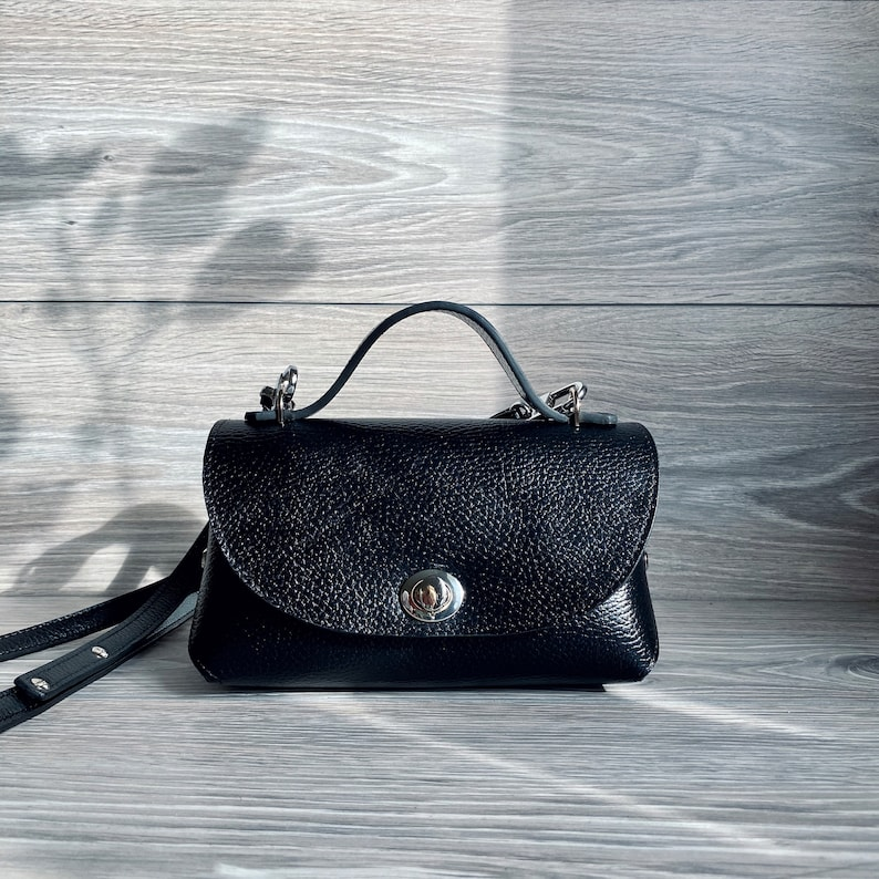 Small Crossbody Bag Woman/'s satchel Leather Purse Top handle leather bag for woman Black leather bag
