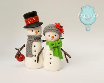Couple of Snowmen figurines, Polymer clay Christmas decoration, Cute Snowmen in love, Handmade Christmas ornaments
