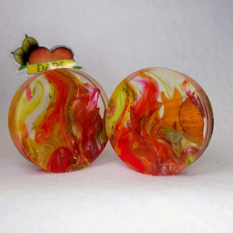 Mahogany and Resin Ear Plug Gauged Jewelry 51mm Handmade Maple