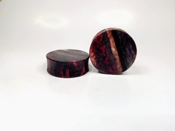 Handmade Maple Burl and Resin Ear Plug Gauged Jewelry 1 14 inch 32mm