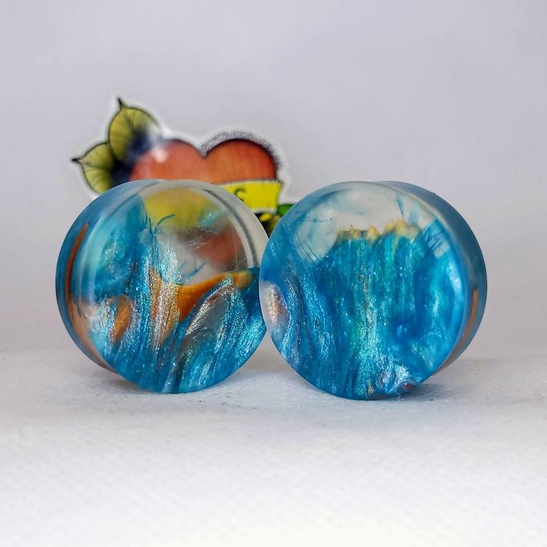32mm 1 14 inch Handmade Maple Burl and Resin Ear Plug Gauged Jewelry
