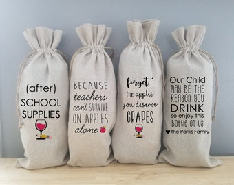 Teacher Gift, Teacher Appreciation, Personalized Teacher Gift, Wine Gift Bag, Wine Lover, Wine Gift, Teacher Wine Gift, Wine Tote