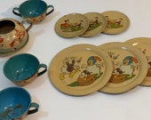 Vintage Ohio Art Tin Litho Tea Set - Disney Clara Clack 1930 39 s Used RARE 10 Pcs
