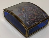 Vintage Cobalt blue music box Minuet No. 3