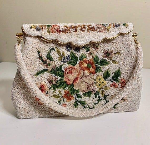 Vintage 1930's Beaded and Embroidered Handbag / P… - image 1