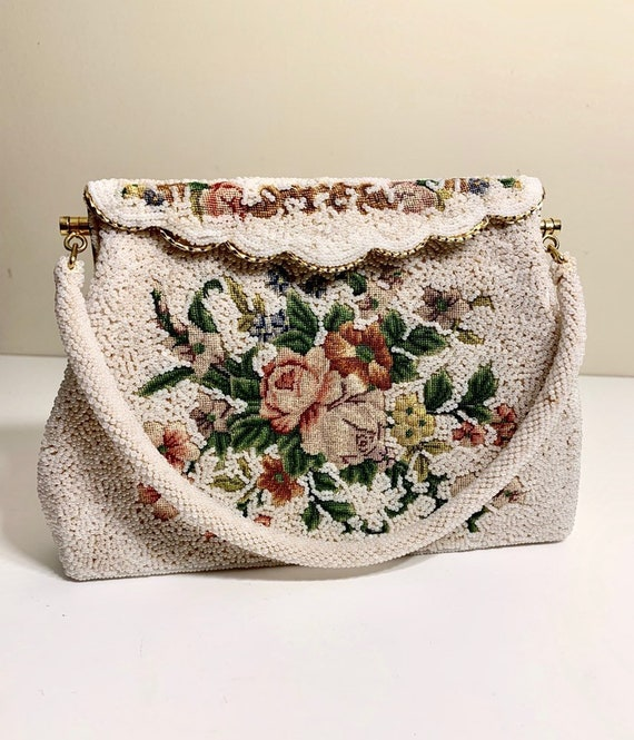 Vintage 1930's Beaded and Embroidered Handbag / P… - image 7