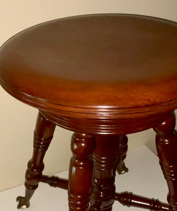 Pleasant Antique Tonk Chicago New York Adjustable Walnut Piano Stool W Glass Ball Beaded Claw Feet And Cast Iron Threaded Swivel Seat Early 1900S Theyellowbook Wood Chair Design Ideas Theyellowbookinfo
