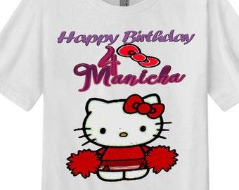 Hello Kitty TShirt Happy Birthday Girl Personalised Tops Tees Party Cheerleader