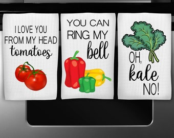 Set of 2 I Love You From My Head to My Tomatoes and You can Ring My Bell Kitchen Towel Gift