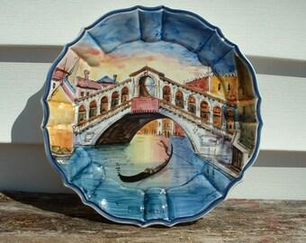 Circa 1960s Upward Curved Rim Venezia /'Rialto Bridge/' Monochrome Pin Dish Vintage A.R.D.O