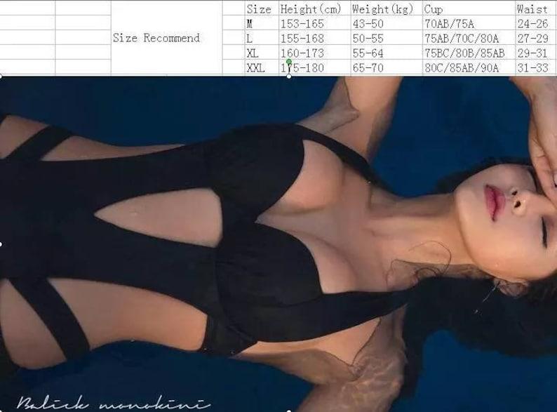 6d5b259e6cd907 2019 Sexy Black Halter Cut Out Bandage Trikini Swim Bathing | Etsy