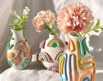 Retro Eclectic Colorful Bud Vase/ Cute Ceramic Vase/ Rainbow Pot Planter/ Modern ceramic vase/ pastel color ceramics/ Boho home decor