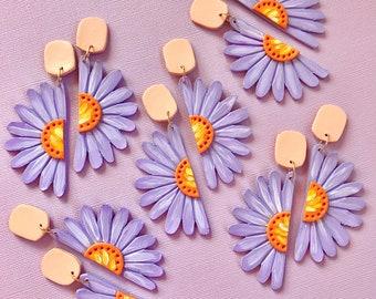 Aster Purple Daisy Earrings/ Flower Earrings/ Floral Earrings/ Daisy Jewelry/ Polymer Clay Earrings/ Statement Earrings/ Cute Earrings