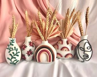 Retro Eclectic Desert Bud Vase/ Cute Ceramic Vase/ Rainbow Pot Planter/ Modern ceramic vase/ neutral ceramics/ Boho home decor/ desert style
