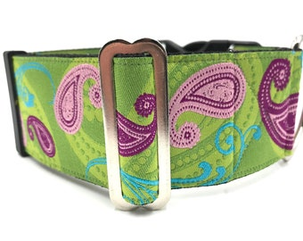 Elegant Tapestry Design with shades of copper on a beige background 2 Extra Wide Large or XL Buckle Dog Collar for Large or Giant Breeds