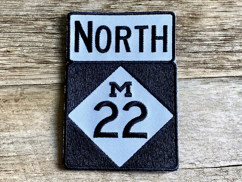 Quality Embroidered Iron-on Patches Michigan 22 Trunkline Highway Sign Patch M22 Roadsign Iron-on Patch