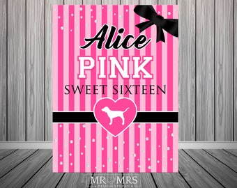 503f14e29d Victorias Secret Love Pink Backdrop - Love Pink Party - Party Banner-  Digital File VS PINK