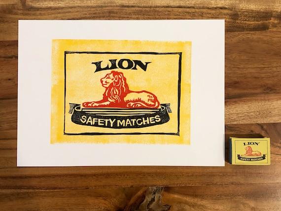 South African Block Print Lion Matches   Zambuk