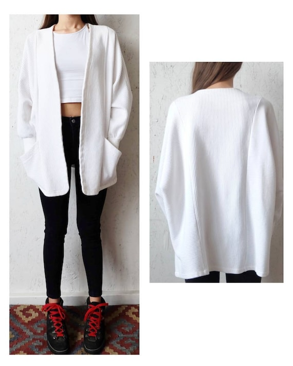 White lightweight cardigan jacket, spring tops vin