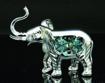424313368 Swarovski emerald crystal studded silver plated elephant figurine ornament