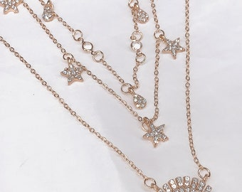 58b4f8a928 Necklace Chic Boho Crystal Gold Multilayer Choker Necklace for Women Evil  Eye Pendant Bead Chain Collar Jewelry Charm Fashion Shine Clavicle