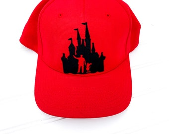 2fc7b455 Walt Disney and Mickey Mouse Castle Inspired Fitted Hat, Youth Adult Women  Men Walt Disney Mickey Mouse Castle Fitted Hat or Trucker Hat