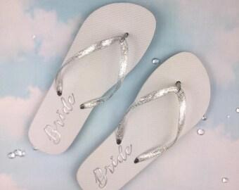 Bride Flip Flops, Flip flops, Hen party shoes, Hen Party Flip flops, Wedding shoes, Bridesmaid flip flops.