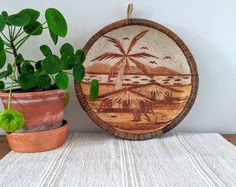 Large bohemian style decorative wall plate/hanging, eco living natural materials wood eclectic sustainable zero waste wicker bamboo