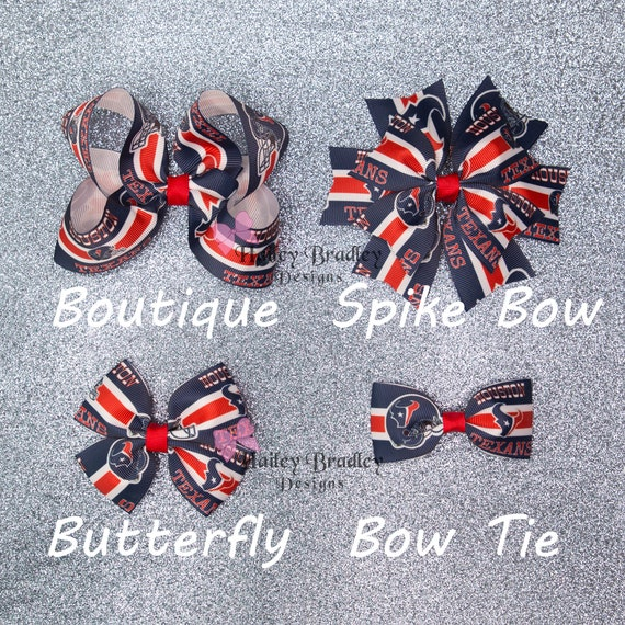 Football LA Chargers or Buffalo Bills Hair Bow with Beads