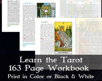 Tarot Journal, Learn Tarot Card Meanings, How to Read Tarot Cards, PDF with full Cutout Tarot Deck, Tarot Cards, Meanings Charts, and Guides