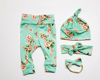 Mint Gift Pink Tiny Floral Brown ORGANIC Floral Baby Leggings Newborn Girls Infant Mustard Cotton Knit Baby Outfit Toddler Fall