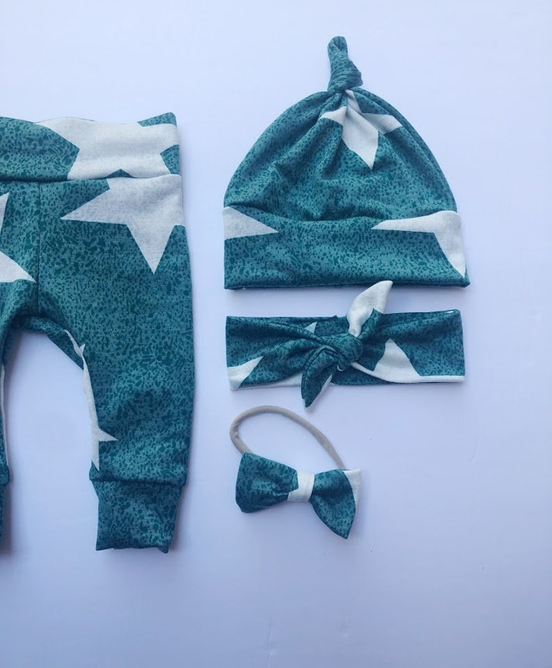 Sage Green Large Stars Baby Girl Boy Set Leggings Hat Headband Bow Gift Shower Photo Prop newborn Take Home Outfit Birthday Knot Pants