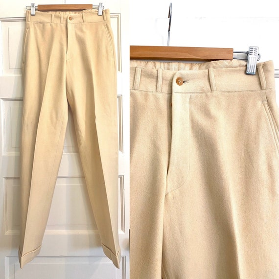 Gorgeous 30s 1940s Flat Front Wool Trousers | Men'