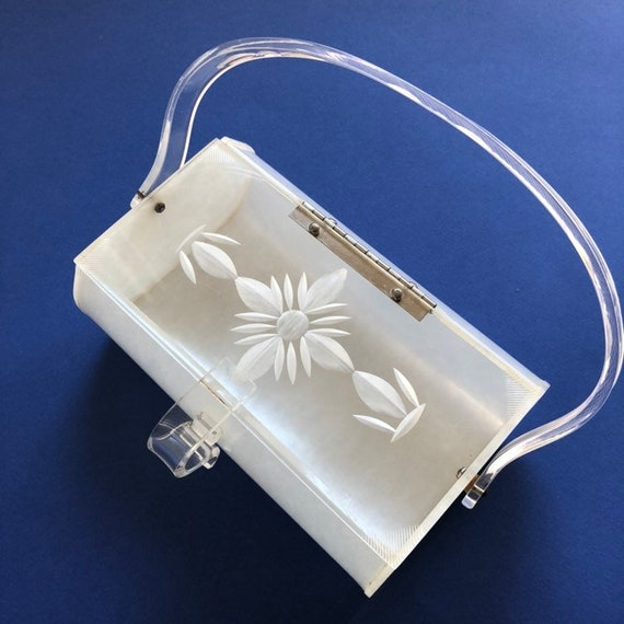 Great 1950s Carved Lucite Purse | Vintage 50s Luci