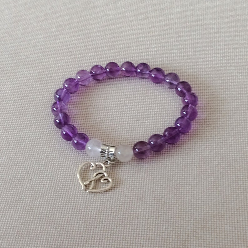 Natural Stones Stretch Stackable Beaded Bracelet 8mm Gemstones With A Silver-Tone Entwined Hearts Charm Amethyst And White Jade Bracelet