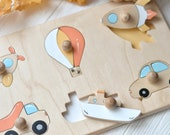 Transport puzzle Montessori shape puzzle Transport wooden toy Shape sorter puzzle Toddler toy Educational toy Sorting toy Sorter toy
