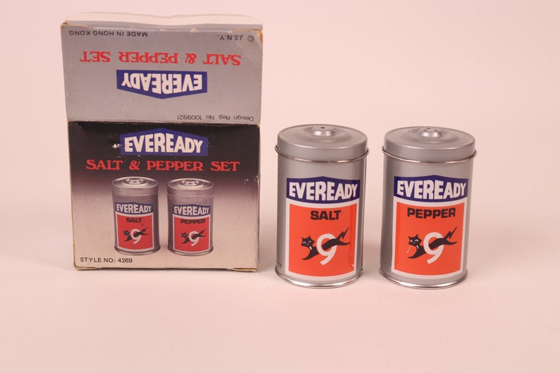 Vintage Pair of Eveready Battery Salt and Pepper Shakers Metal Canister Style With Original Box