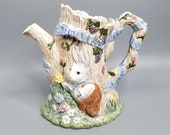 Vintage Fitz and Floyd Bunny Hollow Pitcher Rabbits Tree 1989 Bunnies 1.5 qt Floral Water Jug