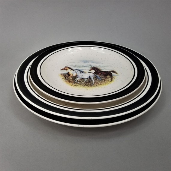 Running Horses Scottyz Folk Craft Plates 3 Piece Place Settings Stoneware Dinner Salad Luncheon Set of Plates Equestrian Western