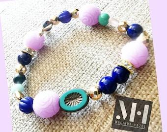 Sand Pink Large beaded Bracelet by Melinda Hazel